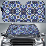 Blue Arabic Morocco Pattern Car Sun Shade