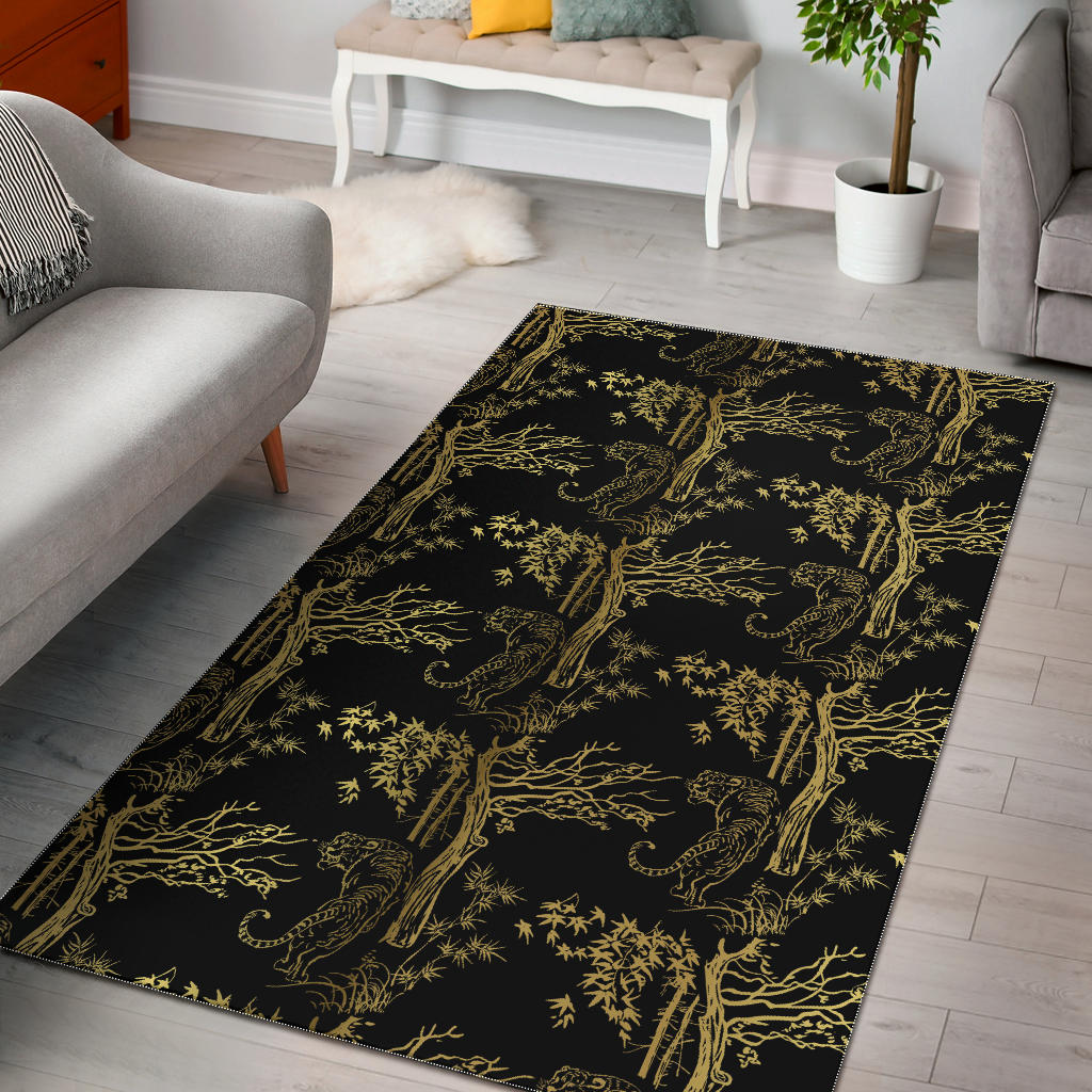 Bengal Tiger and Tree Pattern Area Rug