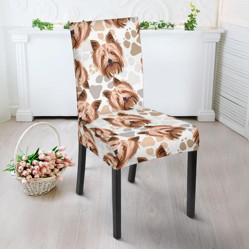 Yorkshire Terrier Pattern Print Design 04 Dining Chair Slipcover