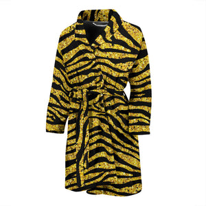Gold Bengal Tiger Pattern Men Bathrobe