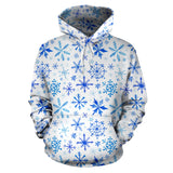 Blue Snowflake Pattern Men Women Pullover Hoodie