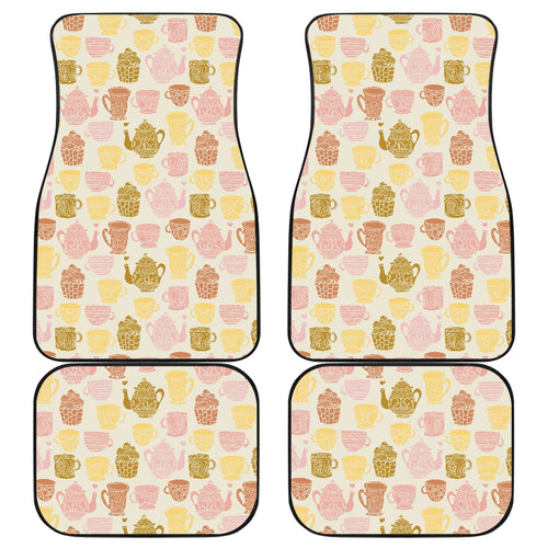 Tea pots Pattern Print Design 02 Front and Back Car Mats