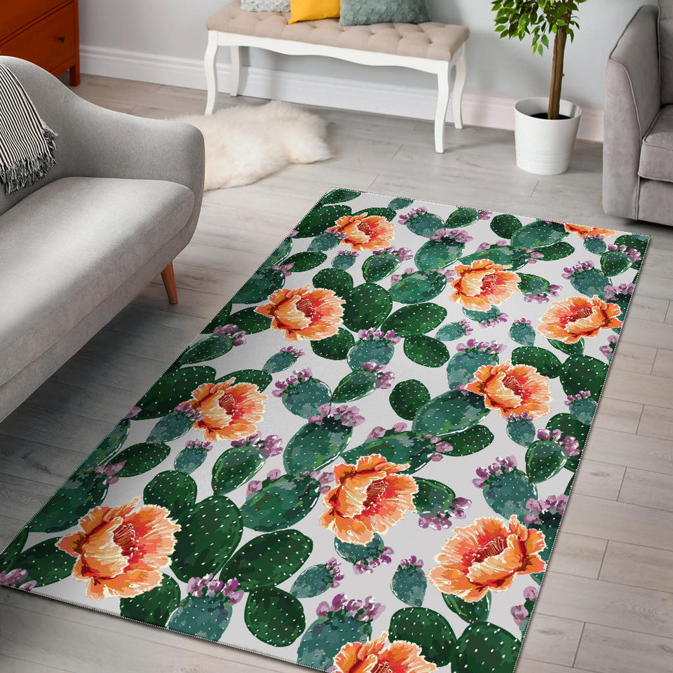 Cactus and Flower Pattern Area Rug