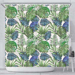 Green Blue Chameleon Lizard Leaves Pattern Shower Curtain Fulfilled In US