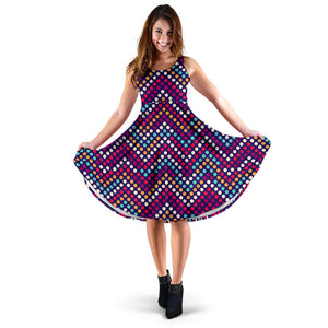 Zigzag Chevron Pokka Dot Aboriginal Pattern Sleeveless Midi Dress