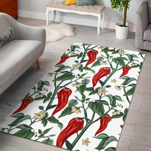 Chili Leaves Flower Pattern Area Rug