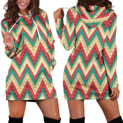 Zigzag Chevron Pattern Women Hoodie Dress