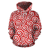 Red and White Candy Spiral Lollipops Pattern Men Women Pullover Hoodie