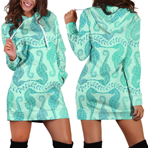 Seahorse Green Pattern Women Hoodie Dress