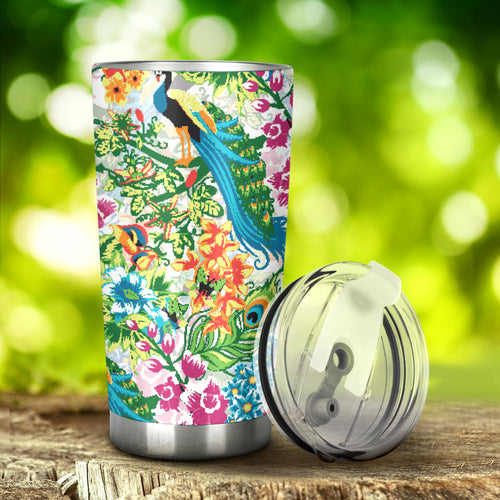 Colorful Peacock Pattern Tumbler