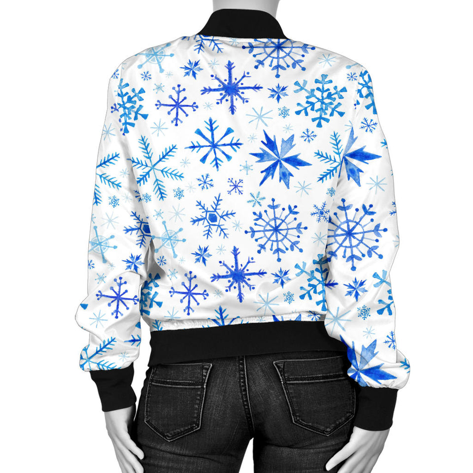 Blue Snowflake Pattern Women Bomber Jacket