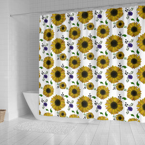 Sunflower Pattern Background Shower Curtain Fulfilled In US