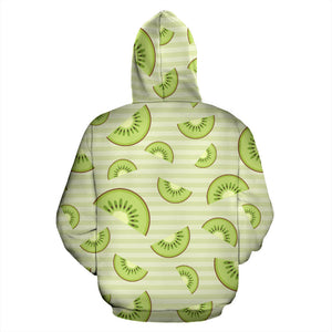 Kiwi Pattern Striped Background Men Women Pullover Hoodie
