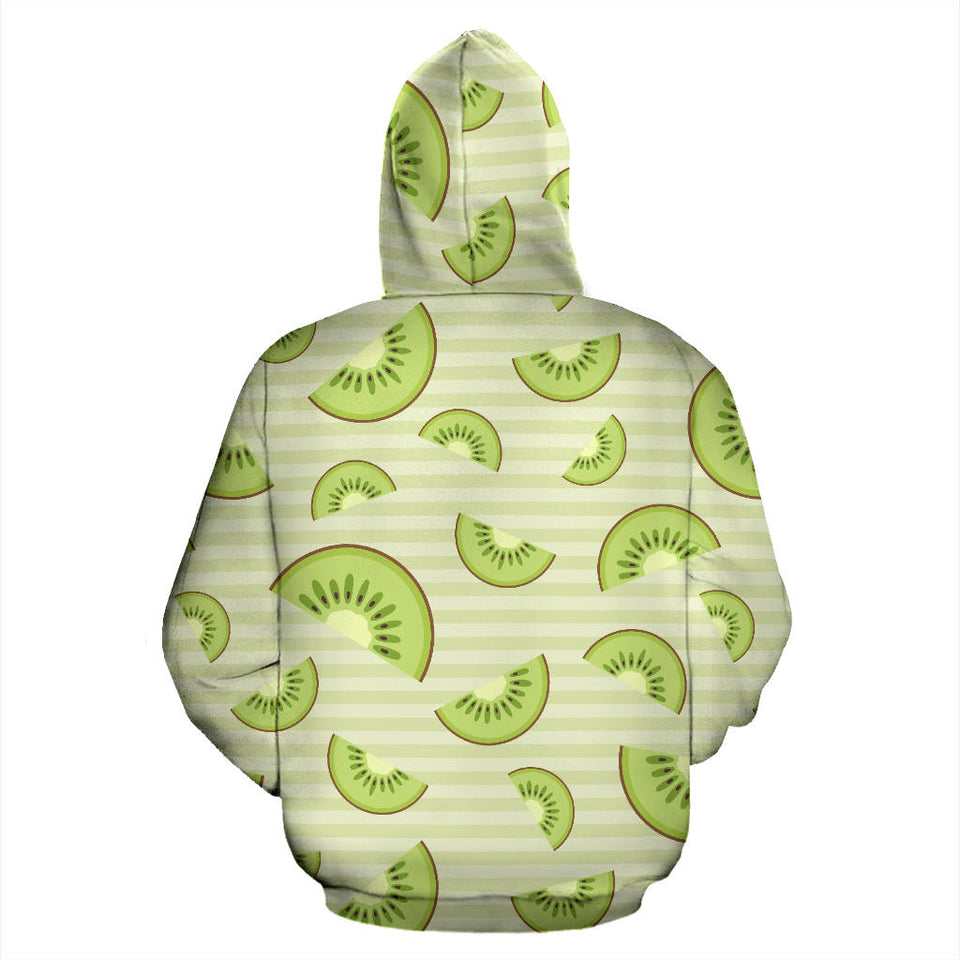 Kiwi Pattern Striped Background Pullover Hoodie