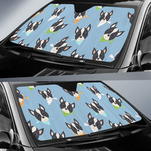 Cute Boston Terrier Pattern Car Sun Shade