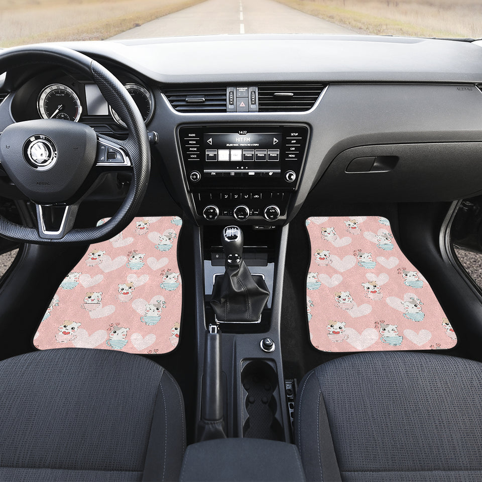Hamster in Cup Heart Pattern Front Car Mats