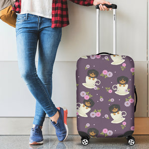 Dachshund in Coffee Cup Flower Pattern Luggage Covers