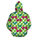 Cherry Pattern Green Background Pullover Hoodie