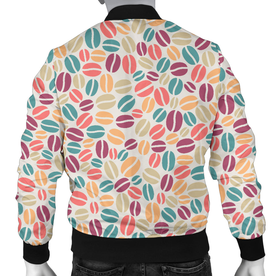 Colorful Coffee Bean Pattern Men Bomber Jacket