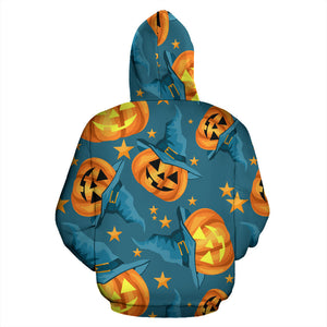 Halloween Pumpkin Witch Hat Pattern Men Women Pullover Hoodie