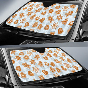 Christmas Gingerbread Cookie Pattern background Car Sun Shade