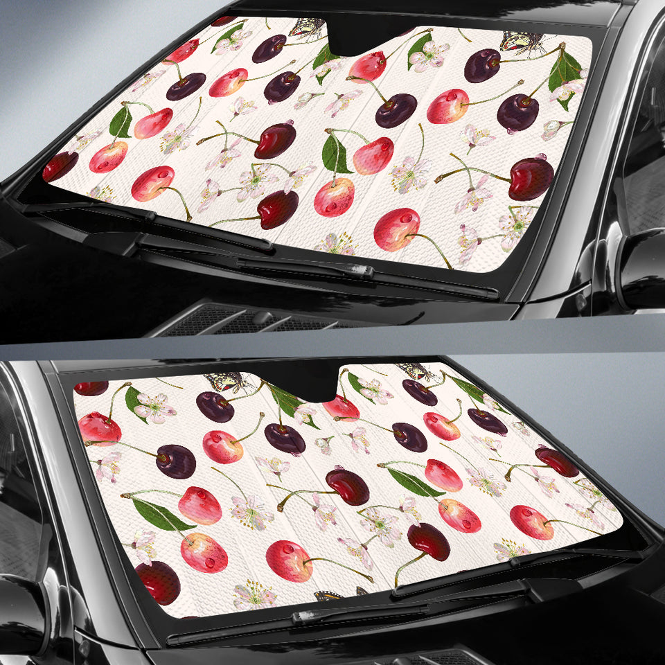 Cherry Flower Butterfly Pattern Car Sun Shade