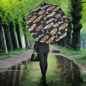 Whale Flower Tribal Pattern Umbrella