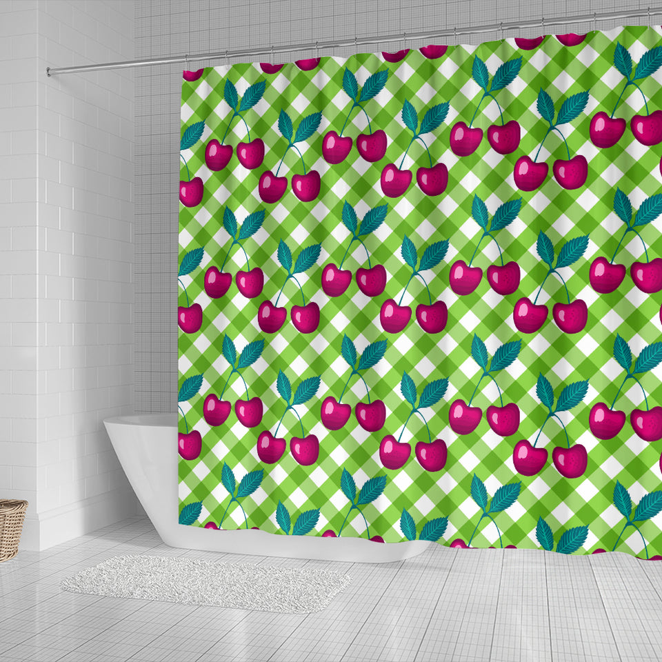 Cherry Pattern Green Background Shower Curtain Fulfilled In US