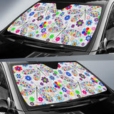 Dragonfly Color Flower Pattern Car Sun Shade