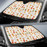 Christmas Corgi Pattern Background Car Sun Shade