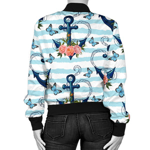 Anchor Flower Blue Stripe Pattern Women Bomber Jacket