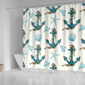 Anchor Shell Starfish Pattern Shower Curtain Fulfilled In US