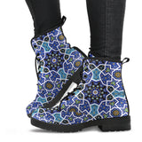 Blue Arabic Morocco Pattern Leather Boots