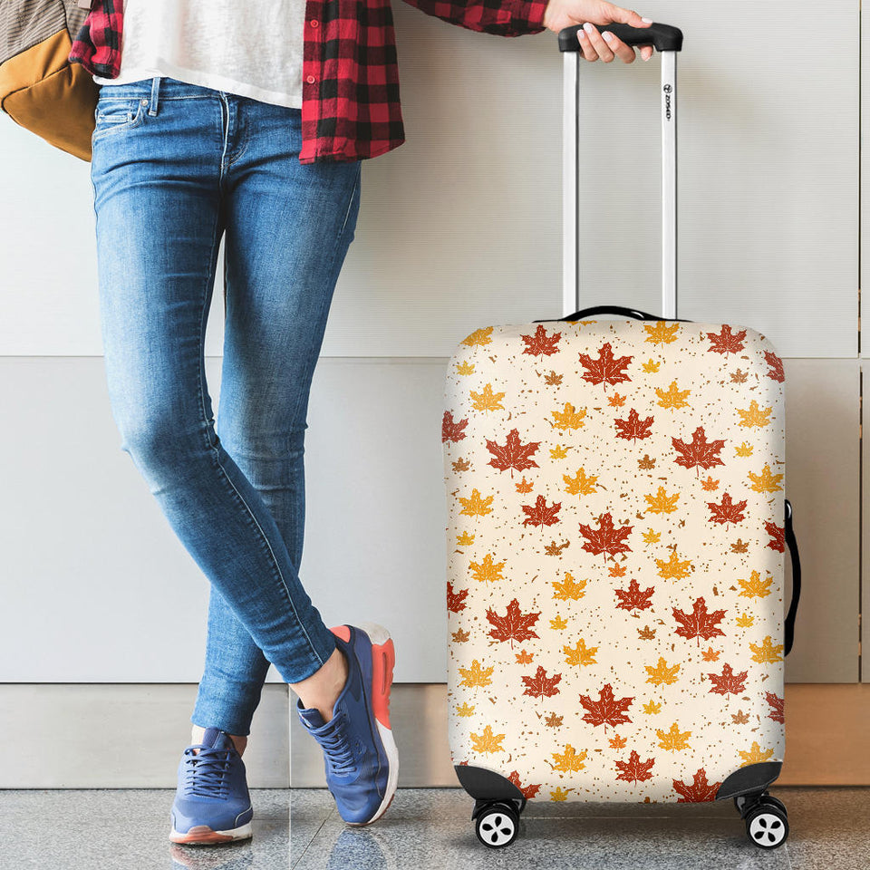 Red and Orange Maple Leaves Pattern Luggage Covers