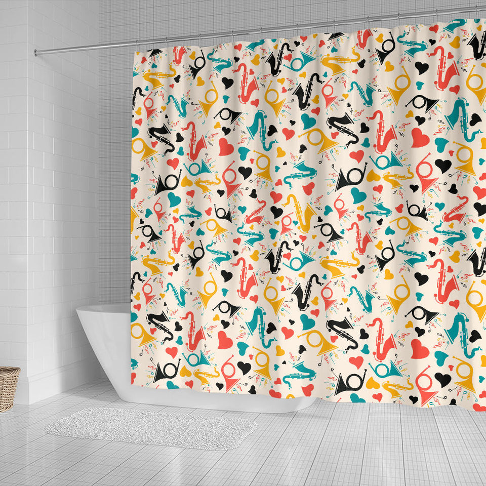 Saxophone Pattern Background Shower Curtain Fulfilled In US