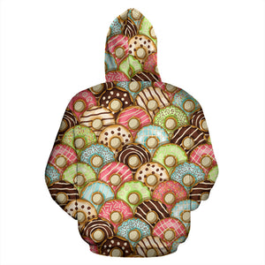 Donut Pattern Background Men Women Pullover Hoodie