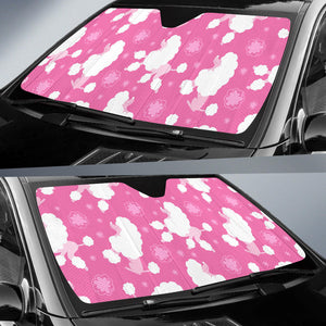 Poodle Pink Theme Pattern Car Sun Shade