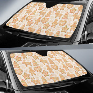 Christmas Ginger Cookie Pattern Car Sun Shade