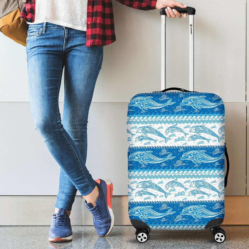 Dolphin Tribal Pattern Ethnic Motifs Luggage Covers