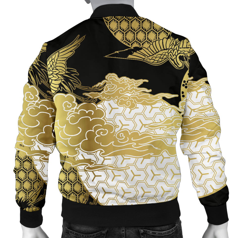 Gold Could Crane Japanese Pattern Men Bomber Jacket