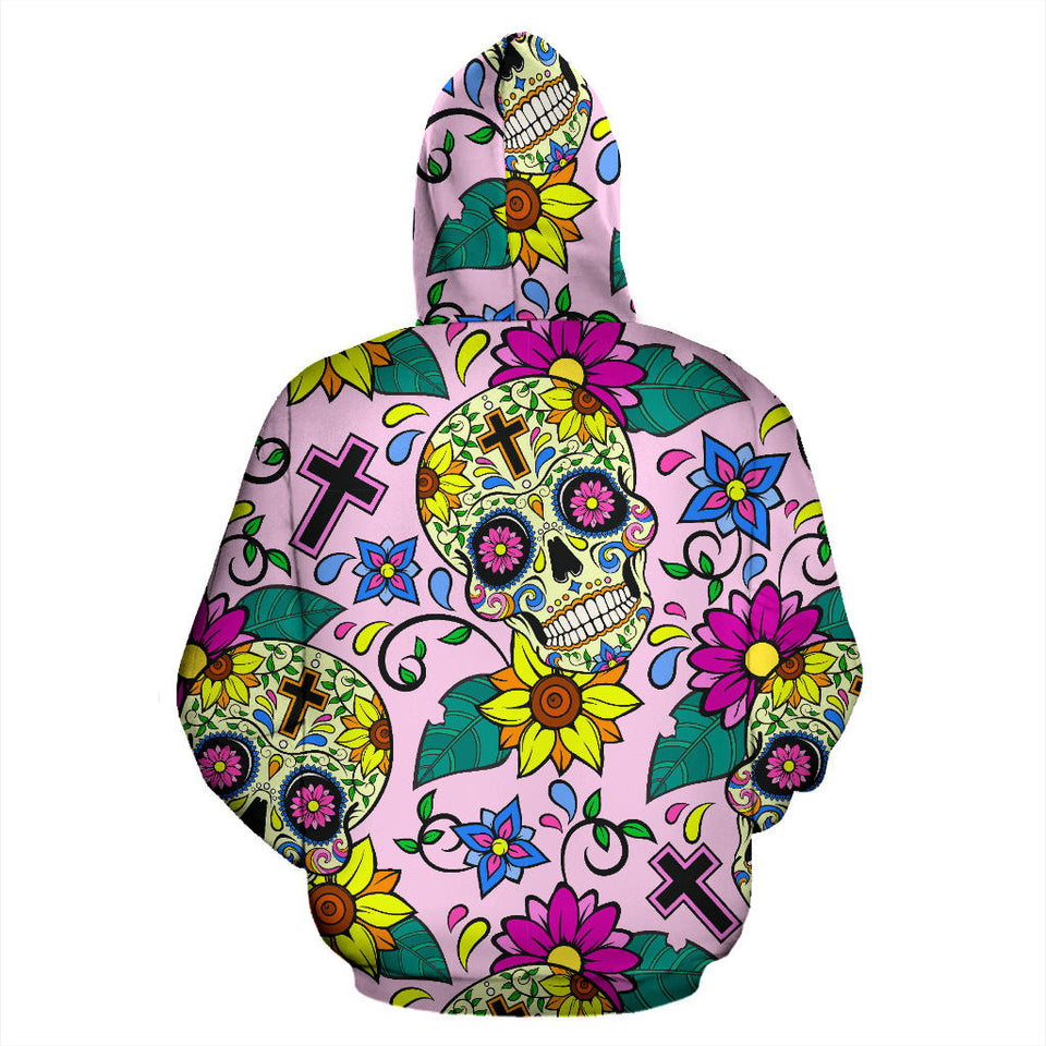 Colorful Suger Skull Pattern Pullover Hoodie