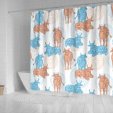 Cow Tribal Pattern Shower Curtain Fulfilled In US