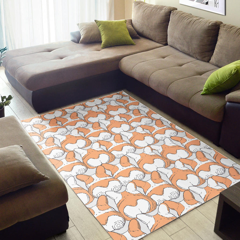 Corgi Bum Pattern Area Rug