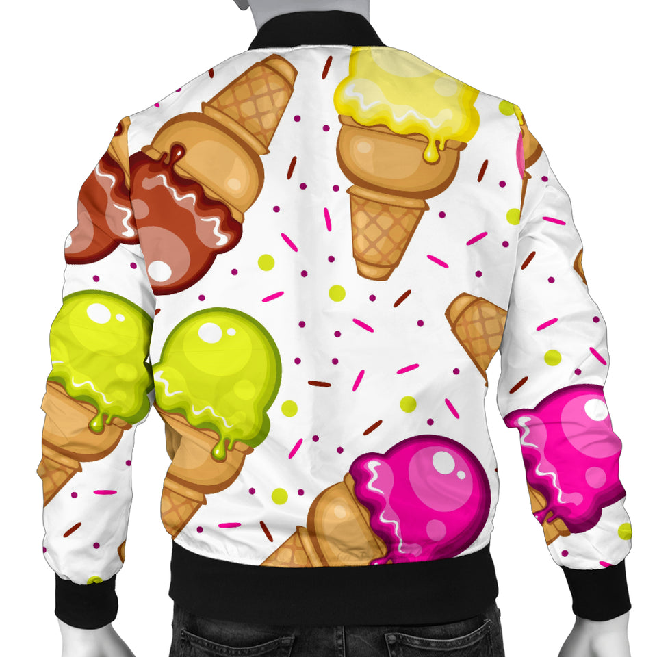 Color Ice Cream Cone Pattern Men Bomber Jacket