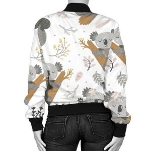 Koala Mom and Baby Pattern Women Bomber Jacket