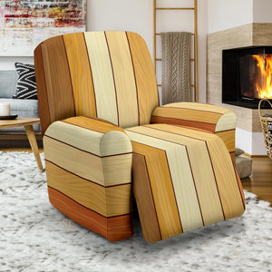 Wood Printed Pattern Print Design 01 Recliner Chair Slipcover