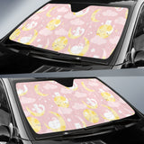 Moon Sleeping Cat Pattern Car Sun Shade