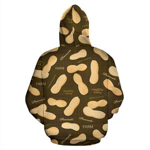 Peanut Pattern Green Background Pullover Hoodie