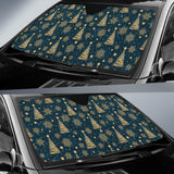 Gold Snowflake Chirstmas Pattern Car Sun Shade