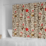 Monkey Christmas Pattern Shower Curtain Fulfilled In US
